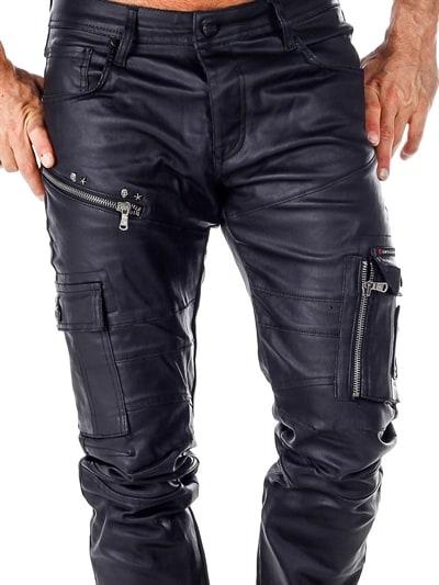 läder jeans herr