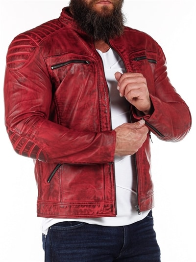 röd läderjacka herr